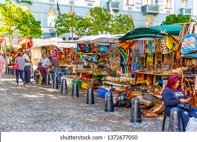 Cape Town, South Africa- March 13, 2019: Street market in South Africa. handmade colorful beads bracelets, bangles. Craftsmanship.