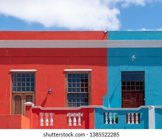 Cape Town, South Africa, March 2019. Close up of houses in the Malay Quarter, Bo-Kaap, Cape Town. Historical area of brightly painted houses in the city centre, housing largely Muslim families.