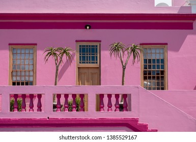 Cape Town, South Africa, March 2019. Pink house in the Malay Quarter, Bo Kaap, Cape Town. Historical area of brightly painted houses in the city centre, housing largely Muslim families.