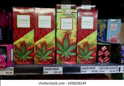 Cape Town, South Africa - March 9,2019: Cannabis products for sale in a shop. It is not criminal anymore in South Africa to possess or grow cannabis in private for personal consumption (2018).