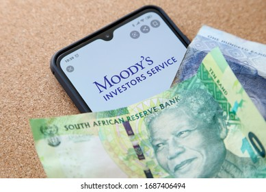 Cape Town, South Africa - March 30, 2020: The Moody's corporation has recently downgraded South Africa's credit rating to junk status. This is a concept image.