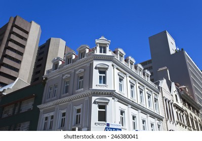 Cape town, South Africa - March 5 2010: Traditional and modern  architectures in Spin street