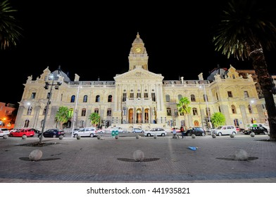 Cape Town, South Africa - March 24, 2012: Cape Town City Hall in Cape Town, Western Cape Province, South Africa at night.