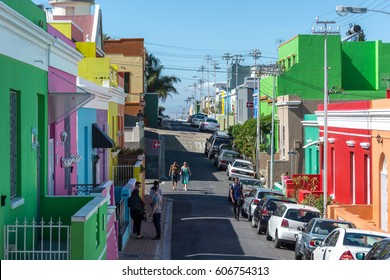 Cape Town, South Africa - March 05, 2017: The Bo-Kaap in Cape Town is known for its brightly painted houses