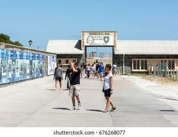 Cape Town, South Africa - March 03, 2017: Tourists at entrance to the prison on Robben Island