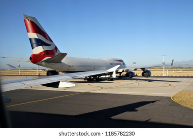CAPE TOWN, SOUTH AFRICA - MAY 28 2018: A British Airways airliner on the runway in Cape Town. BA was created in 1974 after a British Airways Board was established by the British government. Editorial