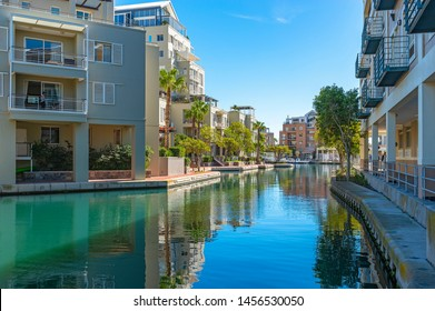 CAPE TOWN, SOUTH AFRICA - MAY 3, 2018: Cityscape of the most famous residential district in South Africa with modern apartment buildings in the Cape Town Harbour District, Western Cape Province.