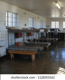 CAPE TOWN SOUTH AFRICA NOVEMBER 23 2009 : Inside Robben Island prison where Nobel Laureate and former President of South Africa Nelson Mandela was imprisoned