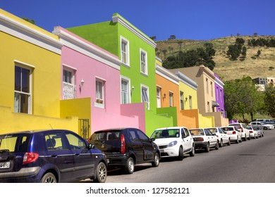 CAPE TOWN, SOUTH AFRICA - NOVEMBER 1: City worker's cars parked in Wale Street in Bo Kaap, a district formerly known as the Malay Quarter, in Cape Town, South Africa, on November 1, 2012.