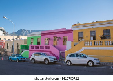 CAPE TOWN, SOUTH AFRICA - NOVEMBER, 2018: Bo Kaap colorful houses in Cape Town