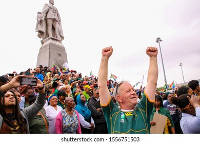 Cape Town, South Africa - November 11 2019: Rugby World Cup 2019 champions, the Springboks of South Africa led by their captain, Siya Kolisi, on a Springbok Trophy Tour through Cape Town.