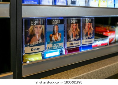 Cape Town, South Africa - October 2020: Condoms on sale in a convenience store in Africa. Gas/fuel station shop products for sale