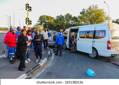 Cape Town, South Africa - October 2020: South African Taxi involved in vehicle accident, many victims in overloaded taxi, drunk driver no license.