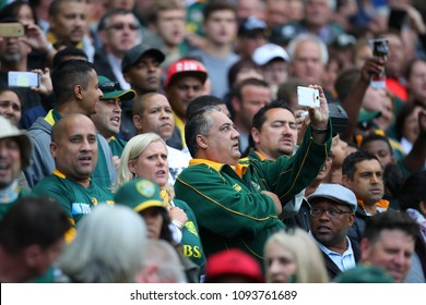 CAPE TOWN, SOUTH AFRICA - Saturday 7 October 2017,  a spectator sings and films the singing of the national anthem during the Castle Lager Rugby Championship Test.