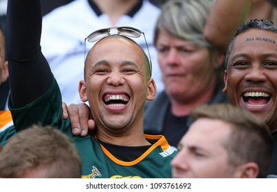 CAPE TOWN, SOUTH AFRICA - Saturday 7 October 2017, Roscoe Mouwers of Kuils River with some of his friends during the Castle Lager Rugby Championship Test.