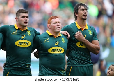 CAPE TOWN, SOUTH AFRICA - Saturday 7 October 2017, Malcolm Marx, Steven Kitshoff and Eben Etzebeth during the singing of the national anthem during the Castle Lager Rugby Championship Test.