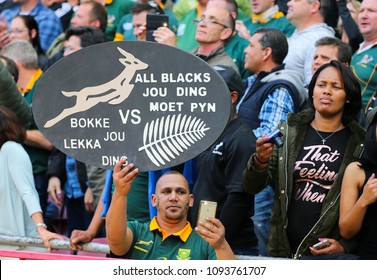 CAPE TOWN, SOUTH AFRICA - Saturday 7 October 2017,  a springbok fan in the crowd holds up his placard during the Castle Lager Rugby Championship Test between South Africa and the New Zealand.