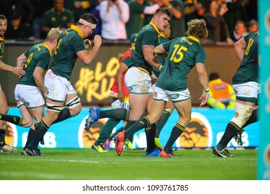 CAPE TOWN, SOUTH AFRICA - Saturday 7 October 2017, Malcolm Marx of South Africa after he scored his try during the Castle Lager Rugby Championship Test between South African Springboks and New Zealand