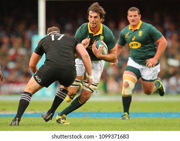 CAPE TOWN, SOUTH AFRICA - Saturday 7 October 2017,  Eben Etzebeth (captain) of South Africa about to run into Wyatt Crockett of New Zealand during the Castle Lager Rugby Championship Test