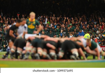 "CAPE TOWN, SOUTH AFRICA - Saturday 7 October 2017,  the spectators do a ""Mexican wave"" during the Castle Lager Rugby Championship Test between South African Springboks and the New Zealand All Blacks"