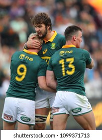 CAPE TOWN, SOUTH AFRICA - Saturday 7 October 2017,  Lood de Jager congratulates Ross Cronje on his try during the Castle Lager Rugby Championship Test