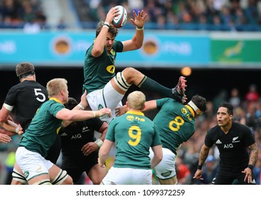 CAPE TOWN, SOUTH AFRICA - Saturday 7 October 2017, Lood de Jager of South Africa in the lineout during the Castle Lager Rugby Championship Test between South African Springboks and the All Blacks.