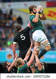CAPE TOWN, SOUTH AFRICA - Saturday 7 October 2017, Lood de Jager of South Africa in the line out during the Castle Lager Rugby Championship Test between South African Springboks and the All Blacks.