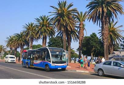 Cape Town, South Africa - Sept 8, 2019: Cape Town MyCiti Bus at stop station on route. MyCiti Bus line serves as safe public transport infrastructure transit network in the Cape Town Municipality.