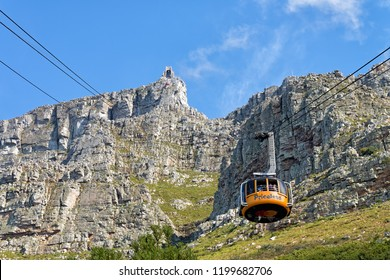 CAPE TOWN, SOUTH AFRICA - SEPTEMBER 16, 2018: Table Mountain Aerial Cable Way is the easier way to reach the summit of this most identifiable landmark. The new rotating gondolas can carry 65 people.