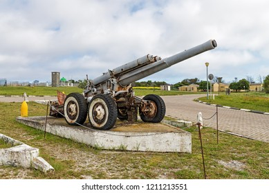 CAPE TOWN, SOUTH AFRICA - SEPTEMBER 16, 2018: Old mobile artillery which was used as defense during World War II, at the entrance of Robben island prison complex where Nelson Mandela was imprisoned.