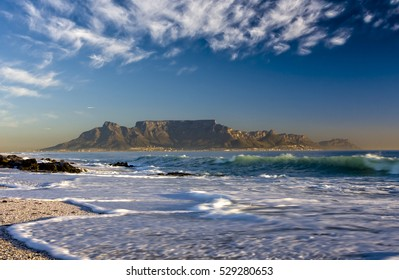 Cape Town South Africa Table Mountain daytime panoramic view from Bloubergstrand
