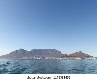 Cape Town, South Africa. View of Table Mountain on the horizon, Photographed from Robben Island where Nelson Mandela was imprisoned.