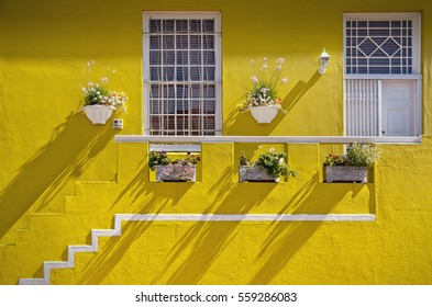 Cape Town, South Africa - Yellow painted house in Muslim Bo Kaap quarter of Cape Town