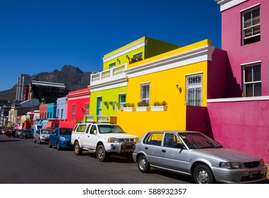 CAPE TOWN, SOUTH AFRICA-FEBRUARY 20,2017:Bo-Kaap,the colorful Neighborhood in Cape Town.Today the people of Bo-Kaap call themselves Cape Muslims.