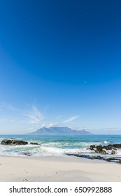 Cape Town Table Mountain across the ocean from Blouberg beach