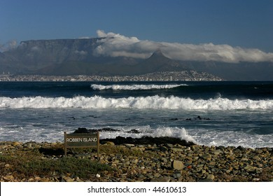 Cape Town and Table mountain seen from the beach of Robben Island