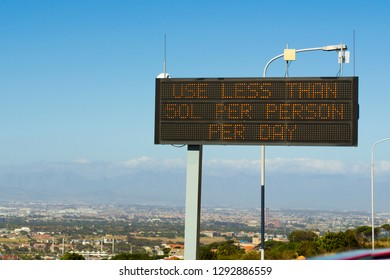 "Cape Town water shortage crisis sign, ""Use less than 50L per person per day"""