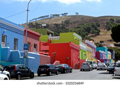 Cape Town, Western Cape, South Africa - 03 16 2017: Colorful Houses of Bo Kaap