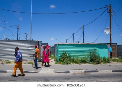 Cape Town, Western Cape, South Africa - November 5 2017 : South African people walking down the street in Langa Township,  Cape Town