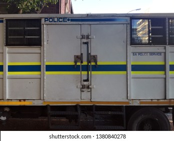 Cape Town, Western Cape / South Africa - April 25, 2019: Close up of South African police transport van