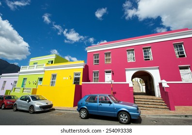 Cape Town,Bo-Kaap-19 February 2015: Colorful architecture of Bo=Kaap builgings,Cape Town.