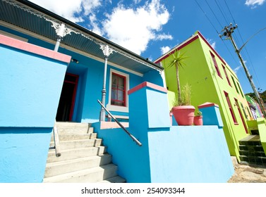 Cape Town,Bo-Kaap-19 February 2015: Verandah detail of housing in Bo-Kaap.