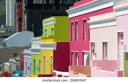 Cape Town,Bo-Kaap-19 February 2015: Vibrant colours mix in Bo=Kaap street scene, Cape Town.