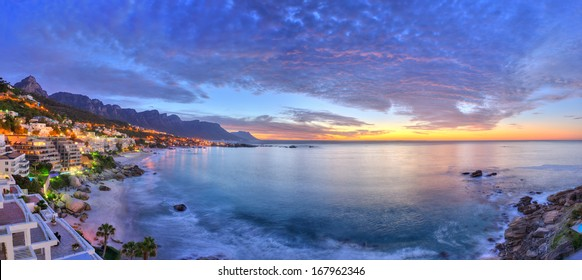 Cape Town's beaches in summer with Table Mountain & Twelve Apostles in the background