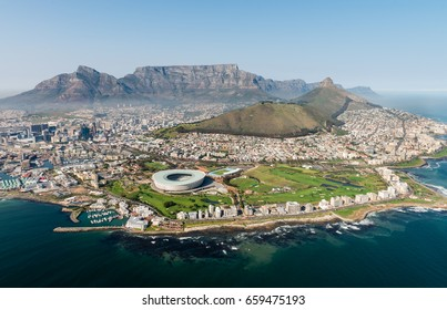 Cape Town,South Africa (aerial view from a helicopter) with the stadium in the focus