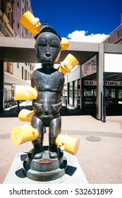 CAPE TOWN,SOUTH AFRICA-JAN.31: statue mixing african art and bart simpson is displayed on 31th january 2010 in Cape Town, South Africa.
