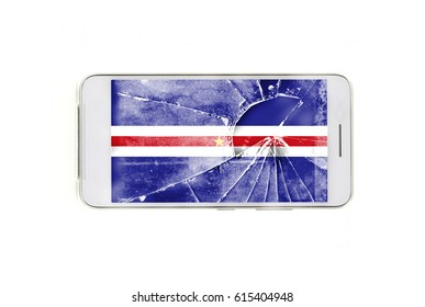 Cape verde flag is depicted on a mobile phone, isolated on a white background. Close up