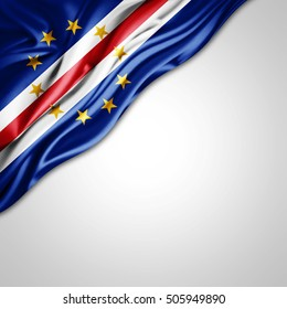Cape Verde flag of silk with copyspace for your text or images and white background-3D illustration