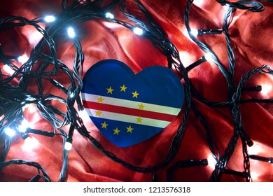 Cape Verde heart shape flag with led light on red shining cloth