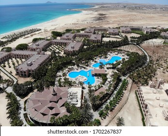 Cape Verde, Island of Sal, 6th Aug 2018: Aerial photo of the beautiful Hotel Riu Palace Cabo Verde, located just on the beach in the town of Cape Verde off the. coast of Africa